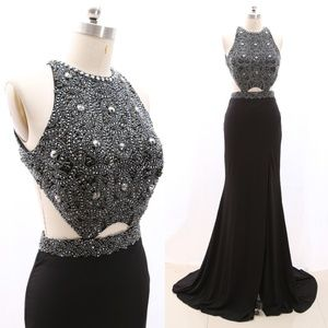 Mermaid Black Pageant Prom Dress Formal Evening